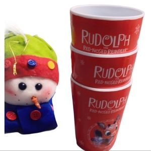 Set of Three Rudolph Kids Cups